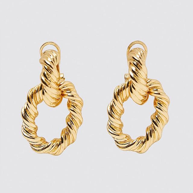 Bpgo ZA nouvellement luxe perle ovale boucles doreilles femmes 2019 à la main en métal doré cristal déclaration bijoux géométrique boucle doreille chaude