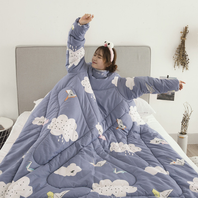 Winter Comforters Lazy Quilt with Sleeves Family Throw Blanket Hoodie Cape Cloak Nap Blanket Dormitory Mantle Covered Blanket 4