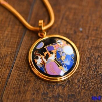 Enamel color head ornament pendant for women enamel color large round Necklace women's female Pendant 2020 new fashion jewelry