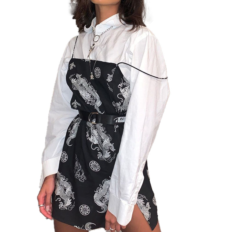 Vintage Dragon Printed Mini Dress Summer Women Street Strap Dress Slim Party Tigh Dress Harajuku Robes платье с драконом