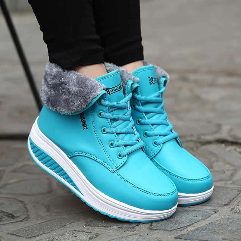 Mắt Cá Chân Giày Nền Tảng Tuyết Cho Nữ Giày Buộc Dây Giày Ngắn Plus Nêm Giày Nữ Mùa Đông Giày Nữ Đế Xuồng giày