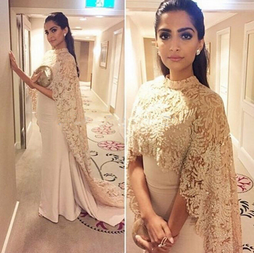 Champagne Mermaid Arabic Evening Dresses With Lace Cape 2016 Formal Evening Gowns Robe De Soiree Mother Of The Bride Dresses