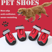 4PCS Red Dog Shoes Anti-slip soft Reflective Straps Four seasons shoes Suitable for small and large dogs Breathable Net