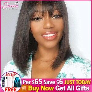 Image 1 - Pelucas de cabello humano brasileño con flequillo, pelo liso barato, corte Pixie, peluca con flequillo, 1 Bob corto, compra gratis