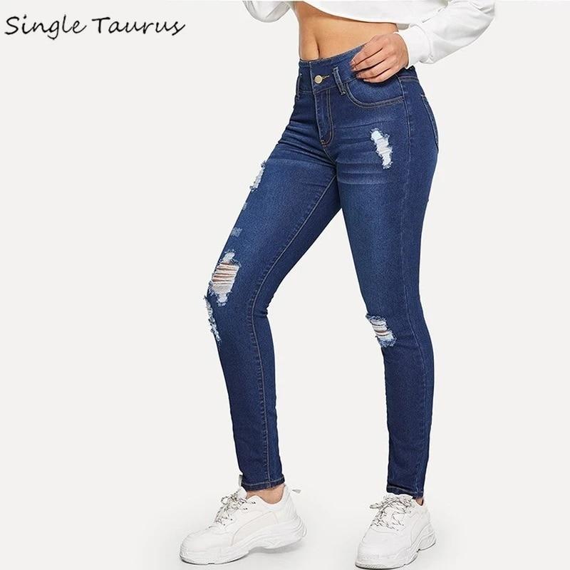 2020 Summer Skinny Jeans Women Casual Fashion Denim Pants High Waist Blue Ropa Pantalones De Mujer Streetwear Ripped Clothing Jeans Aliexpress
