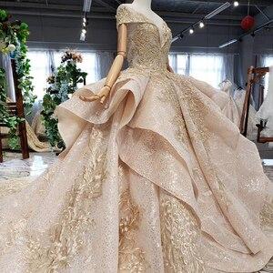 Image 3 - HTL151G plus size evening dress long with skirt off shoulder ruffle layer elegant long evening gowns dubai kaftan robe soirée