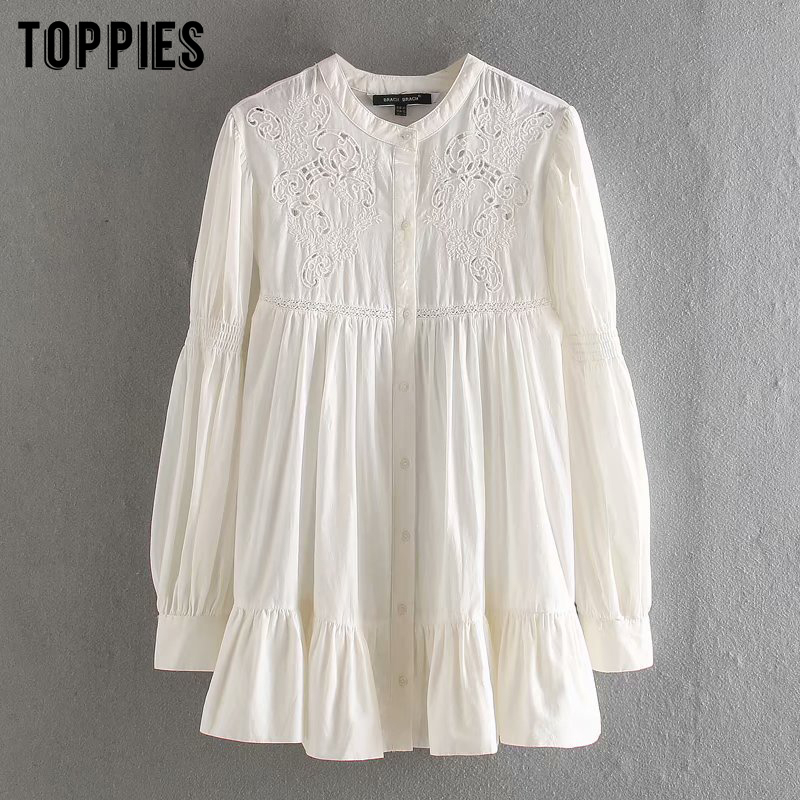 2020 Spring Summer Hollow Embroidery White Shirt Cotton Tops Vintage Long Shirts Ruffle Blouses