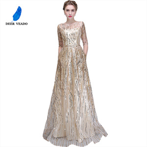Image 5 - DEERVEADO Robe De Soiree Half Sleeves Long Evening Dresses with Belt Sequins Formal Dress Women Occasion Party Dresses YS449