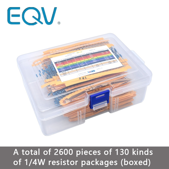 Pack-Kit-Set Resistors Values Assortment-Kits Metal-Film Lot 1/4w 1-% 130 2600pcs/Lot