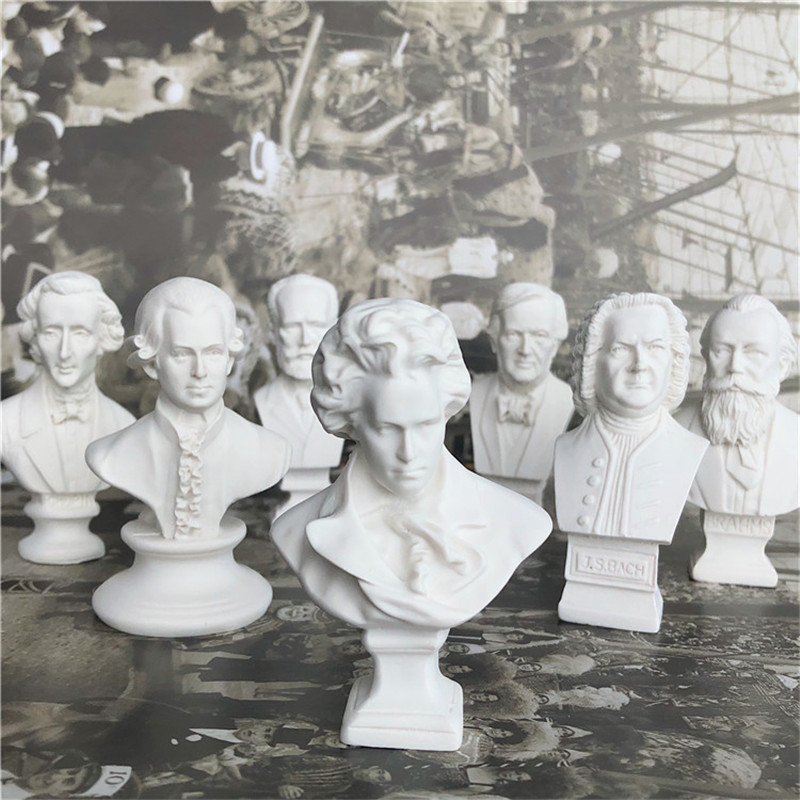 8 Pcs/set Famous Musician Chopin Mozart Ludwig Van Beethoven Resin Imitation Plaster Head Portraits Living Room Ornaments X3278