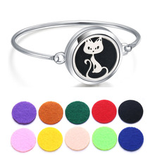 Perfume Bracelet Essential Oil Diffuser Aromatherapy Locket Cat 316L Stainless Steel