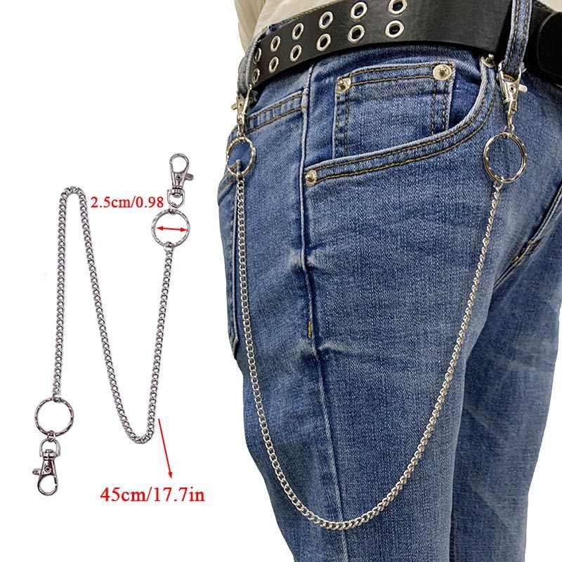 BLA metalowe spodnie spodnie łańcuch Punk Hip-hop łańcuszek na talię Link Metal srebrny breloczek dżinsy talii Link brelok biżuteria Z30