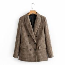 Vintage Elegant Women Contrast Colors Plaid Woolen jacket Fashion Female Turn-Down Collar Double Breasted Coat Casual Casaco(China)