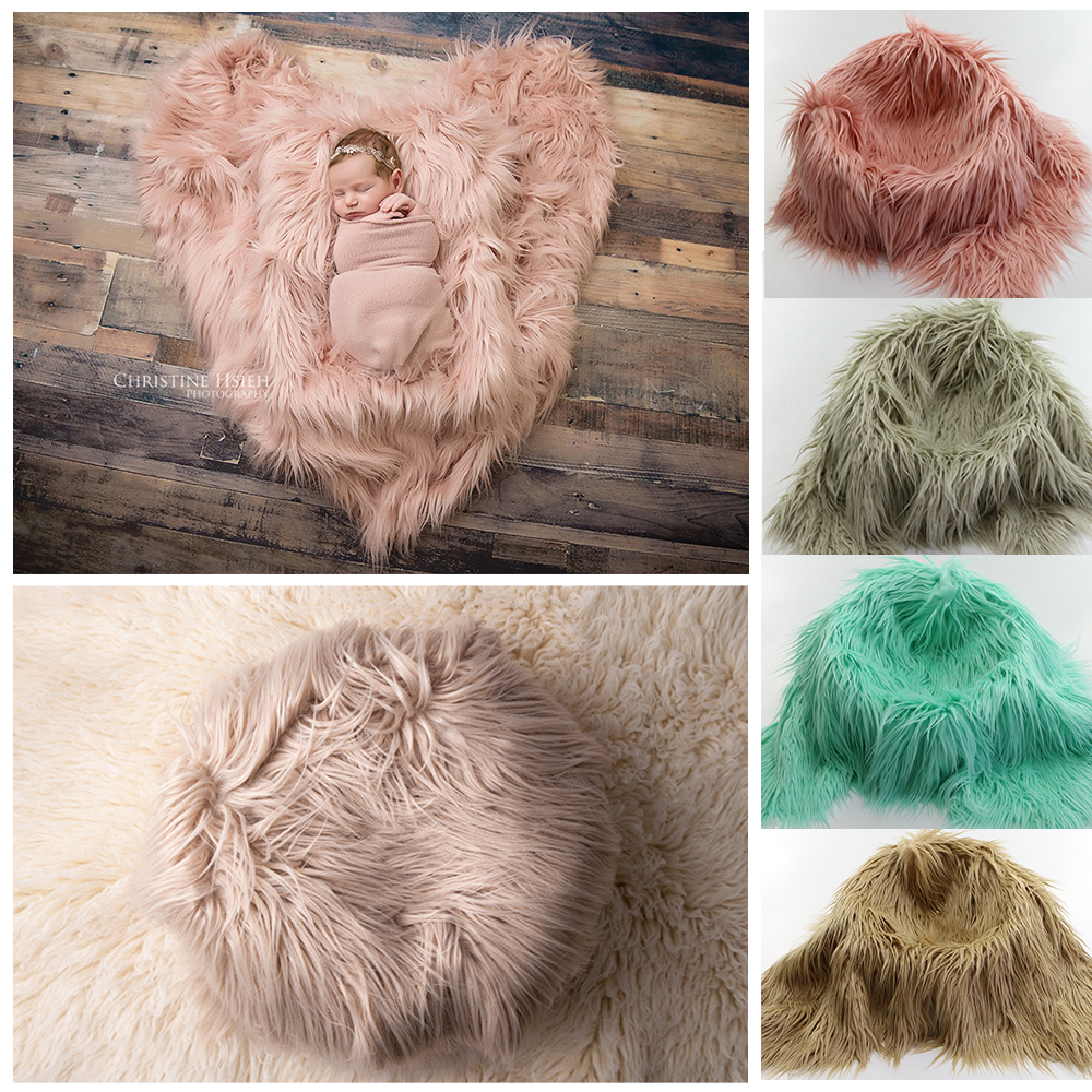 Clearance 75X50cm Newborn Baby Infant Photo Blanket Fake Fur Rug Blanket Plush Photography Background Prop Basket Stuffer Filler