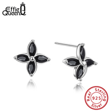 Effie Queen AAAA Cubic Zirconia Flower Earrings Real 925 Sterling Silver Stud For Female Jewelry Party Gift DSE182