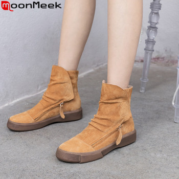 MoonMeek fashion autumn winter boots women round toe suede leather boots casual flat with ladies ankle boots 2020 new