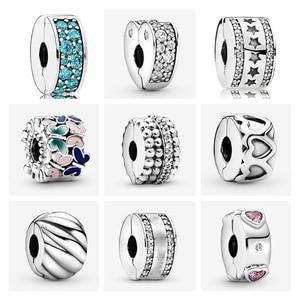Novo polido penas banda de corações borboleta clipe talão caber pandora encantos 925 prata esterlina contas pulseira jóias diy 2020