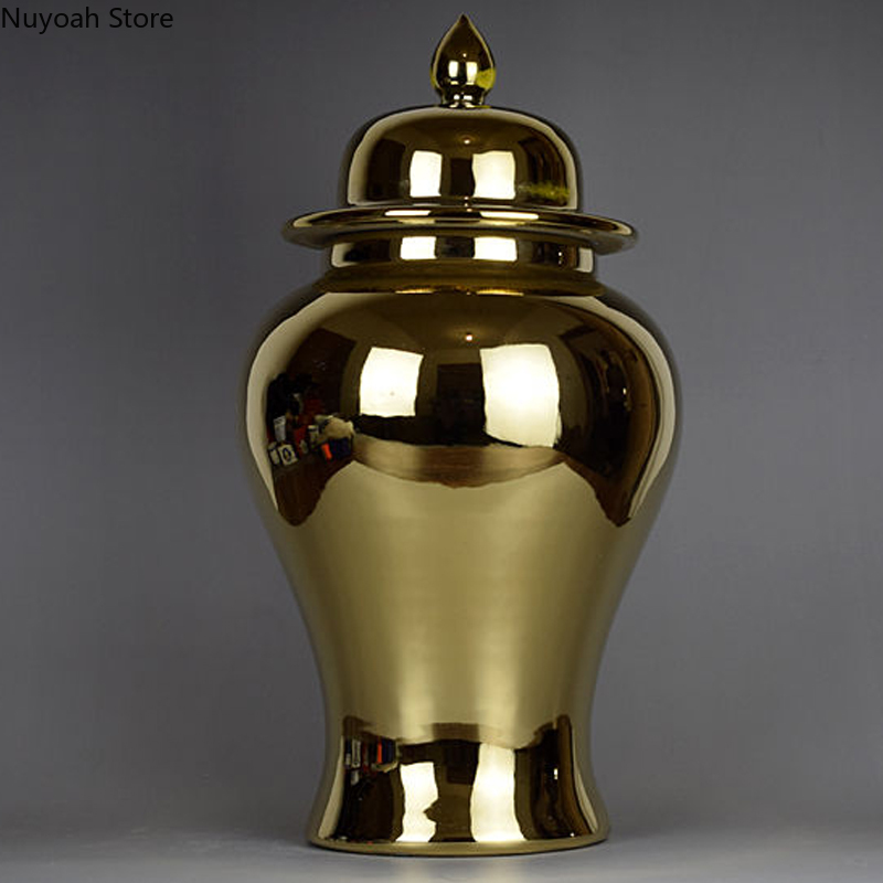 Golden Ceramic Storage Jar Vase Decoration Living Room Art Simulation Flower Arrangement Accessories Home Decoration Modern