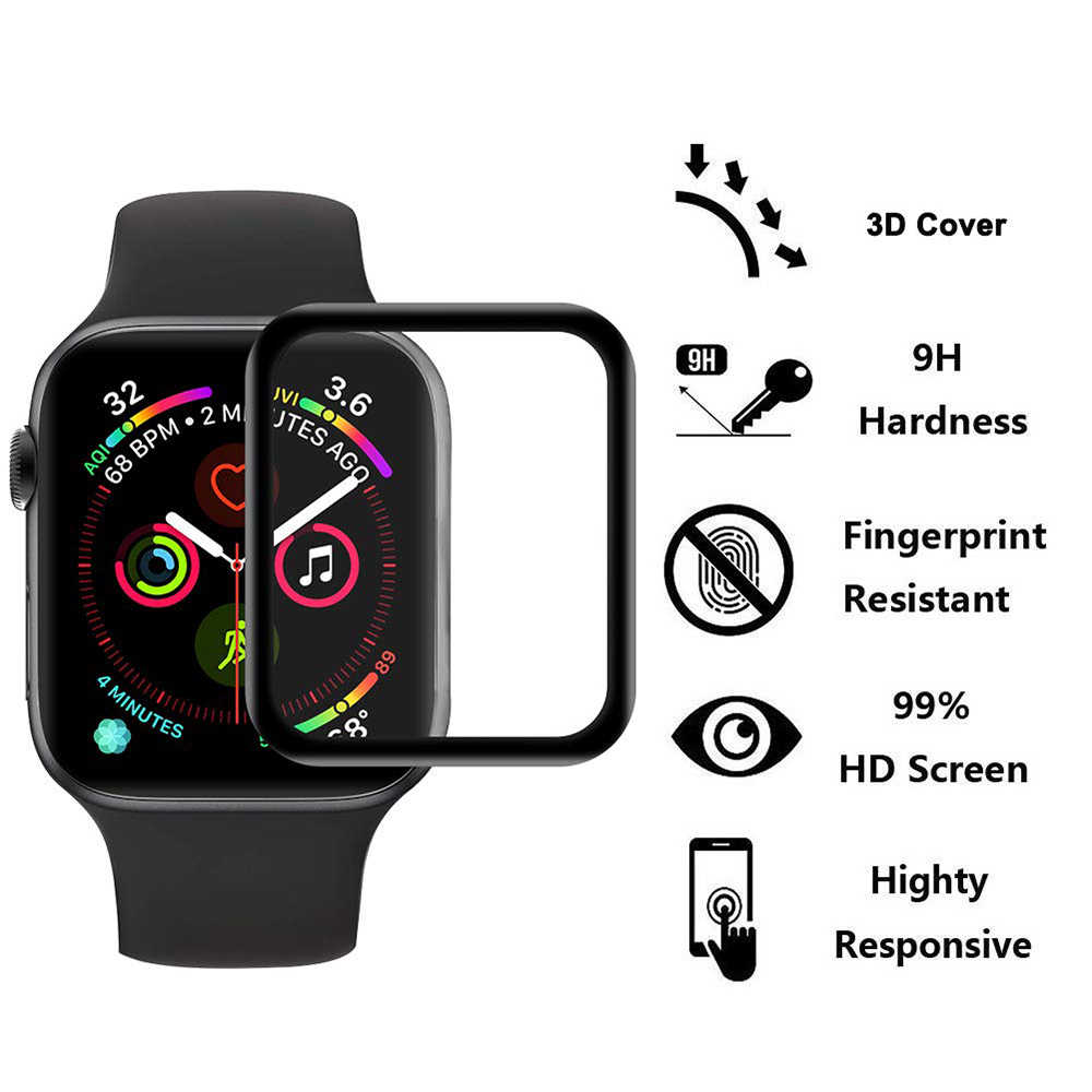 3D HD Tempered Glass Case cover for Apple Watch 3 2 1 38MM 42MM Screen Protector Film for IWatch 4 5 44MM 40MM Accessories