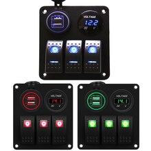 3 Gang Aluminium Rocker Switch Panel 12V Met Digitale Voltmeter En 4.8A Dual Usb Lader Waterdicht Voor Boot Marine auto Rv