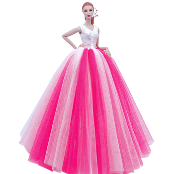 Fashion Handmade Doll Wedding Party Evening Dresses Dolls Accessories White Pink Blue Clothes For Barbie Dressing Game Gift Girl e ting 1 6 fashion doll clothes western style dress lace wedding evening party girls suit hat veil accessories for barbie doll