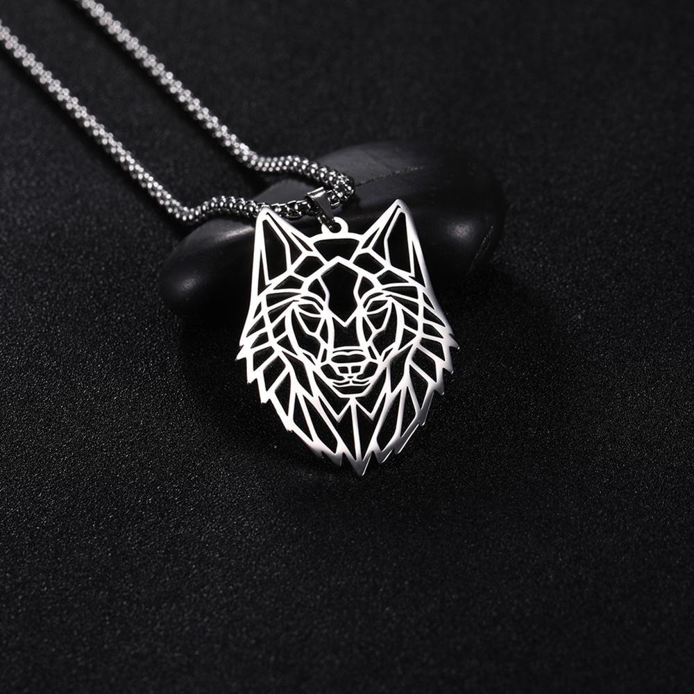 My Shape Wolf Necklace Stainless Steel Animal Forest Men Necklaces Hollow Cut Out Box Chain Choker Pendant Jewelry Gift For Men