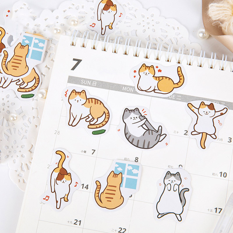 45Pcs/box Kawaii Stationery Stickers Cute Cat Stickers Cartoon Decor Sticker For Kids DIY Scrapbooking Diary Albums Supplies