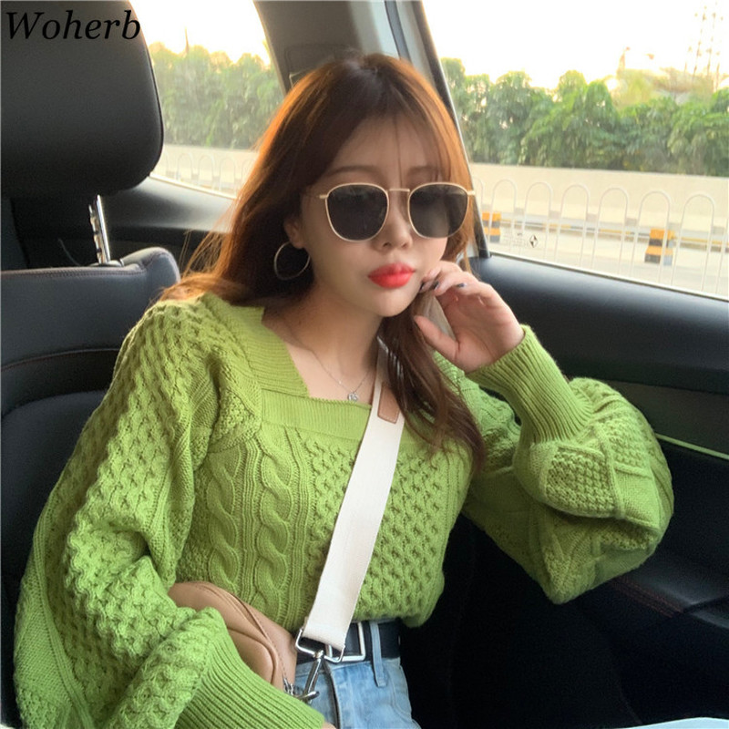 Woherb Vintage Twist Knitted Sweater Women 2020 New Square Collar Pullovers Korean Chic Puff Sleeve Tops Jumper Sweet Pull Femme
