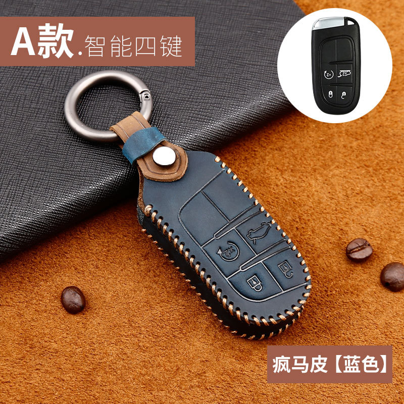 lowest price Leather Car Key Cover Case For Jeep Grand Cherokee Compass Patriot Dodge Journey Chrysler 300C Renegade Fiat Freemont 2018 2019