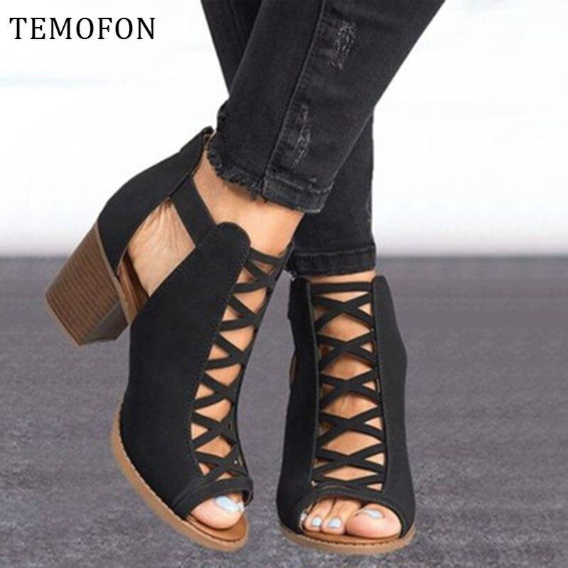 US $14.81 52% OFF|TEMOFON 2020 kobiety sandały na kwadratowym obcasie peep toe drążą chunky sandały gladiatorki z paskiem czarna wiosna letnie buty