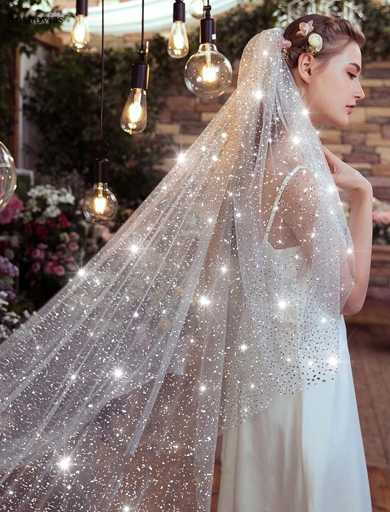 Sparkly Long Shiny 2020 Wedding Veil With Metal Comb Cathedral 3 Meters White Ivory Bridal Head Veil Wedding Bride Accessories