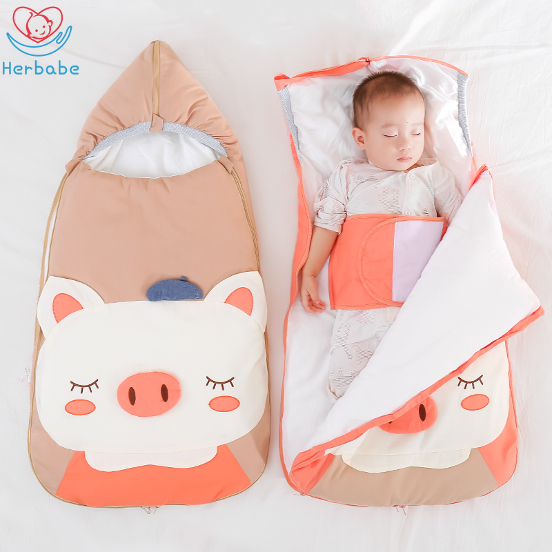 Herbabe Winter Warm Sleeping Bag For Newborn Infant Baby 0-12M Cartoon Thick Toddler Swaddle Blanket Stroller Footmuff Sleepsack