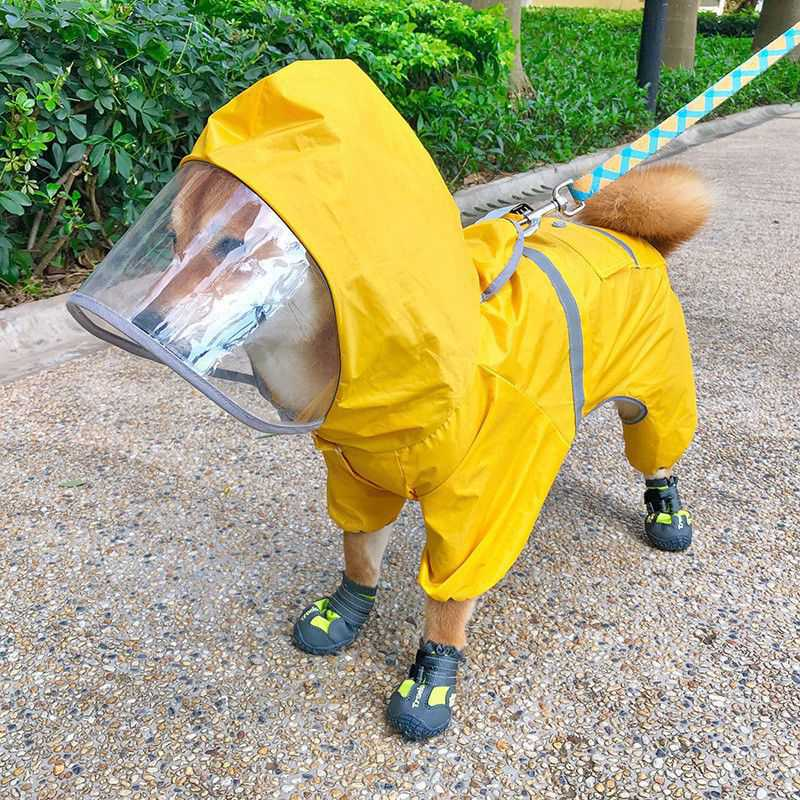 Waterproof Raincoat Pet Dog Puppy Breathable Cloak Puppy Labrador Dogs Clothes Cute Hooded Jacket Cap Rainy For Pet Raincoat