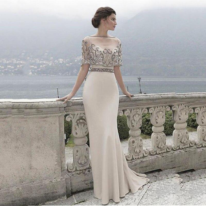 Embroidery Beads Evening Dress 2020 Sexy Spaghetti Straps Elegant Party Long Evening Dress Vestido De Festa Fast Shipping Women
