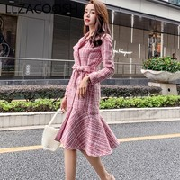2019 Autumn Pink Plaid Tweed Midi Party Dress Women Winter Double Breasted Long Sleeve Ruffles Plus Size Mermaid Dress Vestidos