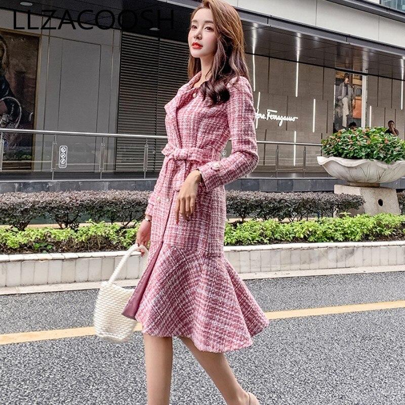2019 automne rose Plaid Tweed robe de soirée Midi femmes hiver double boutonnage à manches longues volants grande taille robe de sirène Vestidos