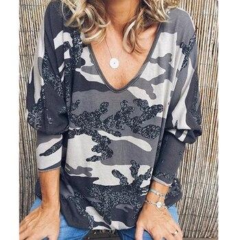 VIEUNSTA 2019 Womens Clothing Plus Size V-neck Print Blouse Shirt Women Long Sleeve Autumn Blusa Casual Loose Streetwear Top 5XL 2