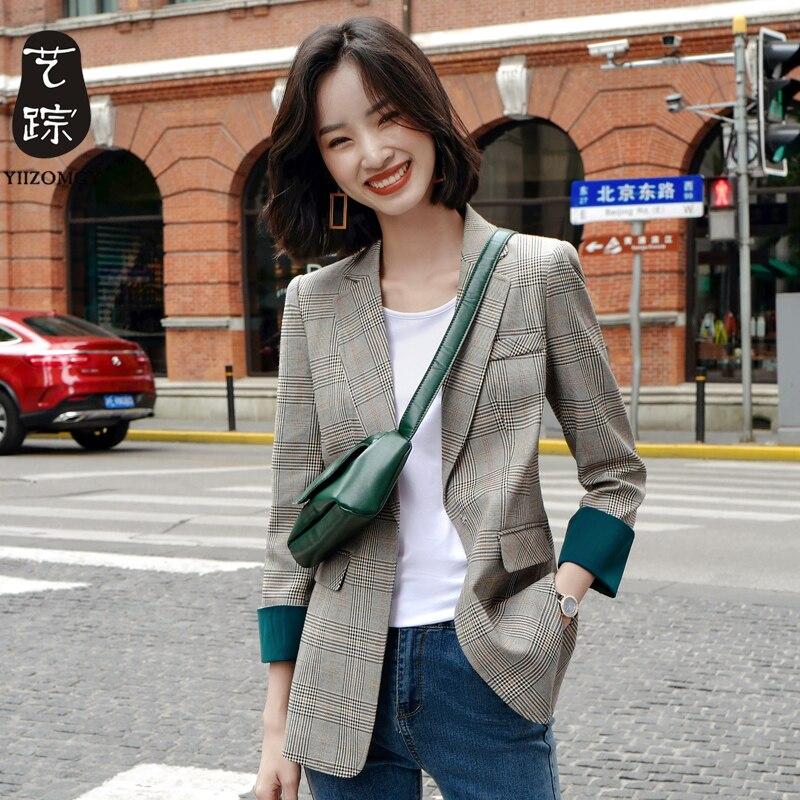 Plaid Vintage Ladies Blazer Casual Gray Simple Suit Jacket Loose Long Sleeve  Bleyser Mujer Korean Spring Women Jacket MM60NXZ