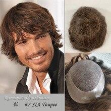 Système de postiche de cheveux Remy couleur brune #7 pour Homme, postiche en Poly + Mono, densité 120%