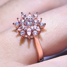 Vintage Fahsion Snow Shape Women Finger Ring 2 color Gold Rose Gold High Quality Jewelry Wedding Engagement Rings Wholesale
