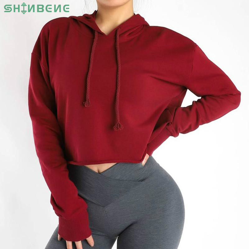 SHINBENE CUT OUT Cotton Hoodie Fitness Gym Crop Tops Women Plain Loose Fit Dance Sport Crop Sweatshirts Workout Cropped Hoodies