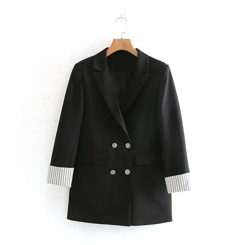 Autumn New Ladies Black Jacket Fashion Temperament Korean Retro Double-breasted Loose Women's Blazer Casual Office Women's Suit
