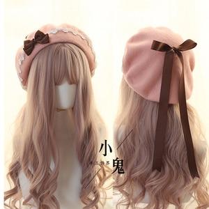 Image 5 - יפני Kawaii כומתה כובע לוליטה בגיל ההתבגרות לב מתוק צמר בעבודת יד חמוד תחרה Bowknot חם סתיו חורף צייר כובע כיסוי ראש