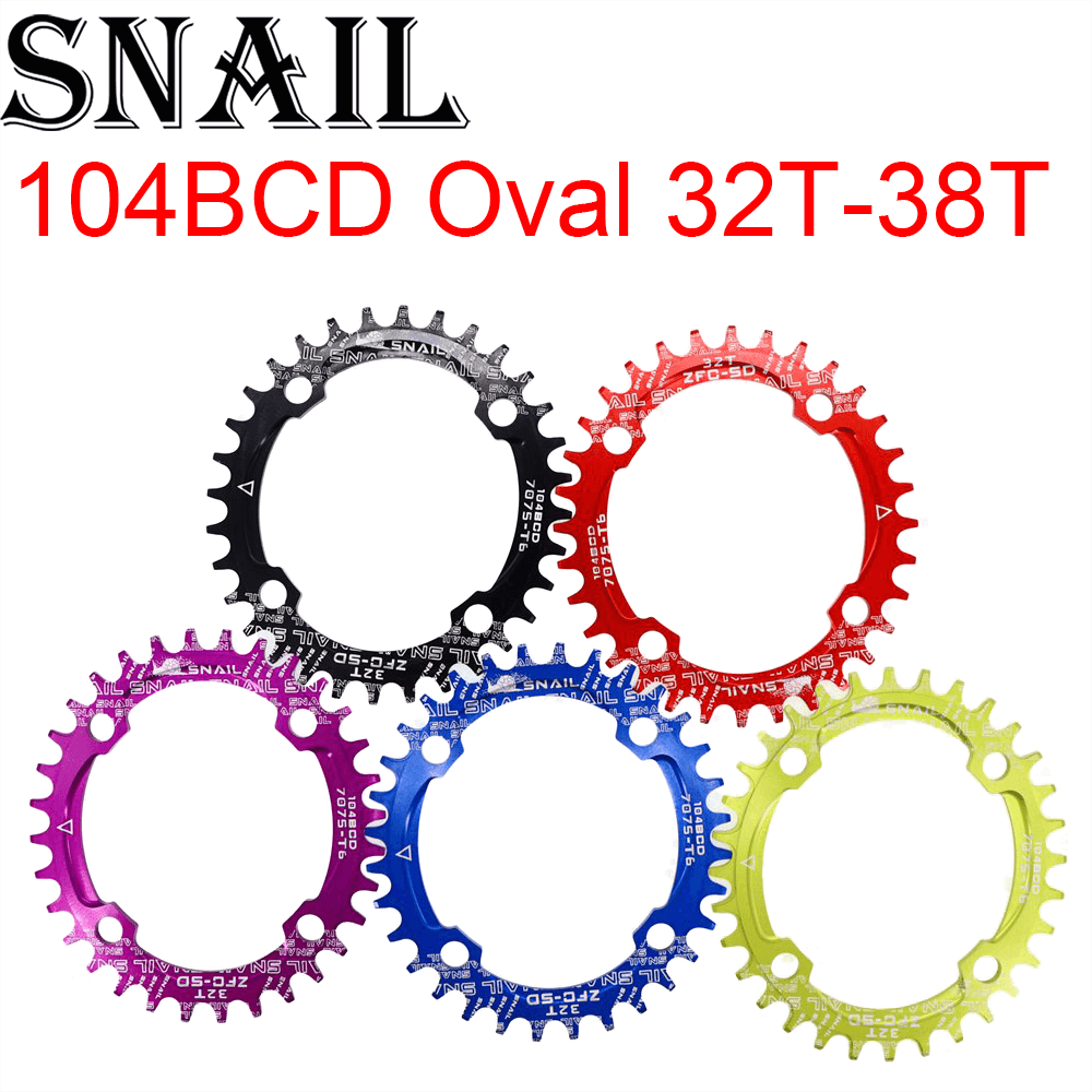SNAIL Chainring 104 BCD Oval 32T 34T 36T 38T Tooth MTB Mountain Bike Bicycle Chain Ring toothPlate chainwheel 104BCD