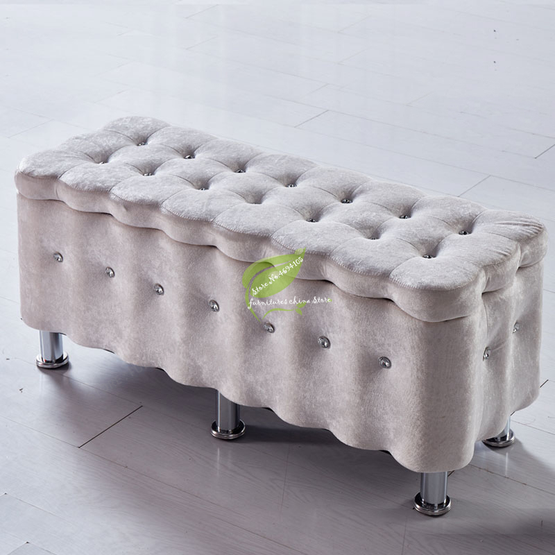 Fashion Solid Wood T Stool Storage Rectangle Shoes Sofa Stool Cloth Bench High Resilience Sponge Home Decor Modern