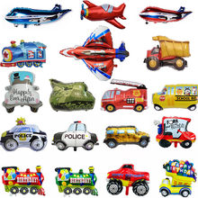Big Toy Car Foil Ballon Kids Baby Shower Boy Tank Plane School Bus Fire Truck Happy Birthday Party Decoration Train Cars Ballons(China)