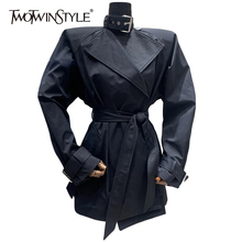 Windbreaker TWOTWINSTYLE Long-Sleeve Trench Female Black Fashion Women Solid Sashes