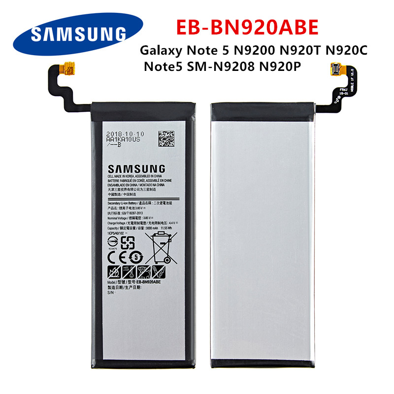 SAMSUNG Orginal EB-BN920ABE 3000mAh Battery For Samsung Galaxy Note 5 N9200 N920T N920C N920P Note5 SM-N9208 Mobile Phone