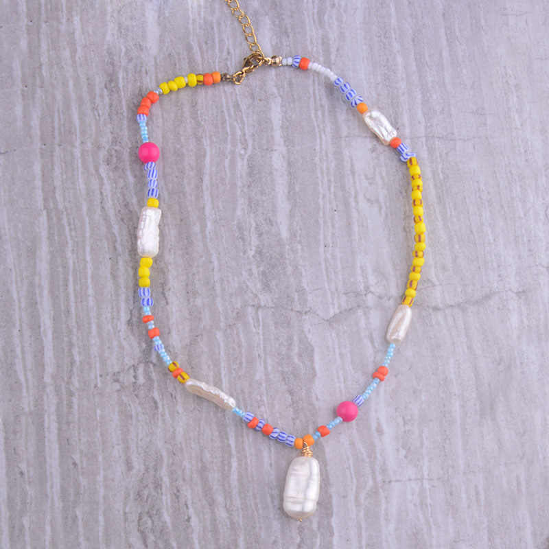 Mixed beads necklace Real pearl and pink and re beads necklace Beaded freshwater pearl choker Freshwater pearl and seed beads necklace