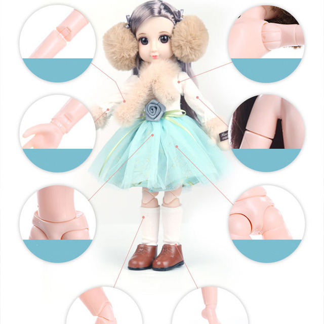 30CM BJD Doll 15 Ball Joints Bjd Dolls With Winter Outfits Dress Girl Princess Gift Make up Girls DIY BJD Toys Best Gift for Kid 4